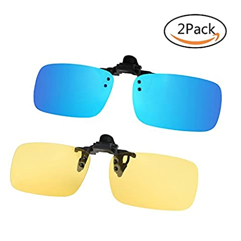 Polarized Sunglasses Lenses Clip-on Flip up Glasses Set Unbreakable for Driving Fishing Outdoor Sport, Fits Over Prescription Eyewear for Mens Womens (Yellow+Blue with Green)