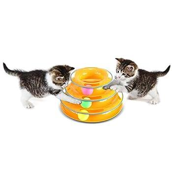 Zuoao Jouet Labyrinthe pour Chat avec 3 Balles & 3 Circuits Jeux Ludique & Amusant & Interactif pour Animaux de Compagnie