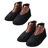 YOUTU Overshoes, Non-Slip Shoe Covers, Premium Reusable Shoe and Boot Covers for Contractors, Machine washable, Black - Suitable for adults
