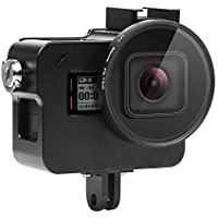 Lighten Aluminium Alloy Protective Case Charging Case Wire Connectable Skeleton for Gopro Hero 7 Black Action Camera,Side Open Shell with 52mm UV Filter and Lens Cap