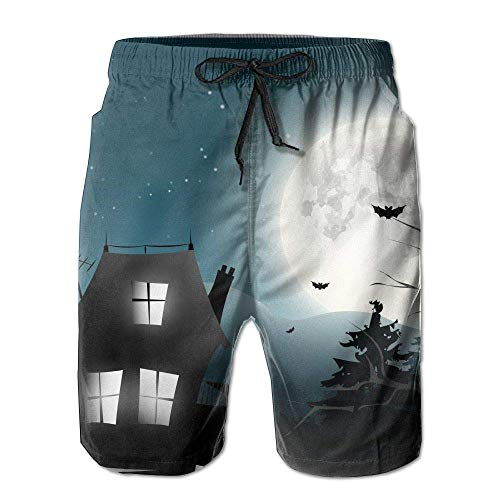 Halloween Haunted House Silhouette Mens Beach Pants Swim Trunks Quick Drying Board Trunks with ()