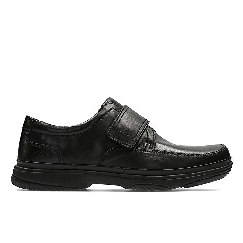 Clarks Men's Slip-On Velcro Shoes Swift Turn Black Leather
