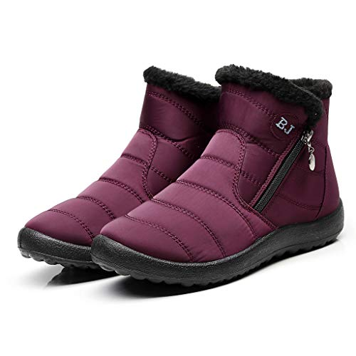 VEMOW Ladies Boots Walking Boots Women Winter Warm Waterproof Cotton Shoes Nylon Snow Ankle Short Boots Botas