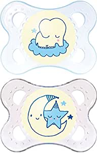 MAM Night Glow in The Dark SooTher Suitable 0 Months with Sterilisable Travel Case - Pack of 2, Blue/White