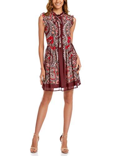 oodji Ultra Mujer Vestido de Gasa Estampado Estilo Oriental, Rojo, ES 42 / L