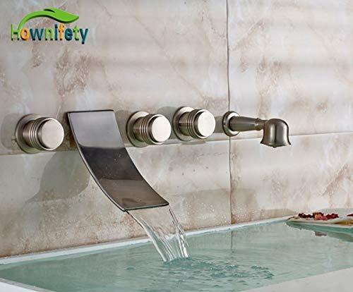 U-enjoy lampadario 5 pc nuovi spazzolato bagno superiore vasca nichel rubinetto a muro tap montato con hand mixer doccia bianco spedizione gratuita