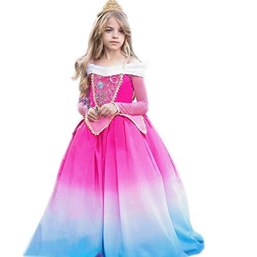 IBTOM CASTLE Mädchen Dornröschen Aurora Prinzessin Kostüm Kleid Kinder Karneval Festliches Geburtstagsfeier Cosplay Verkleidung 7-8 ()