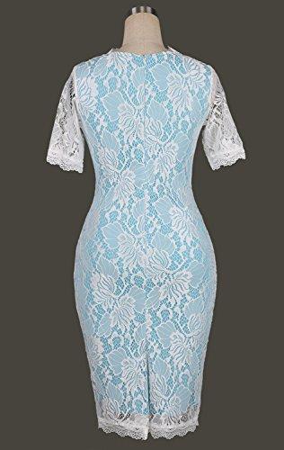 Minetom Femmes Robe Vintage Floral Dentelle Bodycon Manche Courte Robe de Plage Party Cocktail Dress Bleu