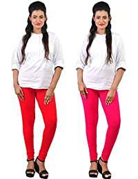Comfort Lady Women's Cotton Churidar Leggings Combo (Pack Of RED,RANI )-Free Size
