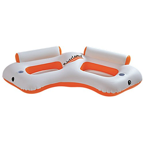 Jilong Riverland Water Sofa 216x104x48 cm Badeinsel für 2 Personen Poolsessel mit Rückenlehne Schwimmsessel Pool Lounge Wassersofa Wassersessel Luftmatratze inkl. Steckverbindung
