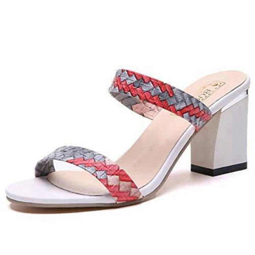 Franco Sarto Peep Toe (Frauen Sandalen Open Toe Farbe Riemen Heel Pantoletten Damenslip auf Peep Toe Klobige Block Heel Sandalen)