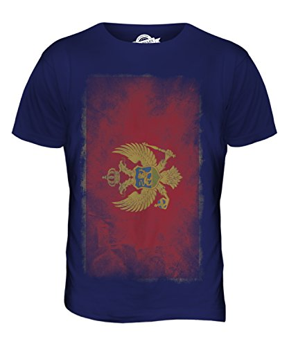 CandyMix Montenegro Verblichen Flagge Herren T Shirt Navy Blau