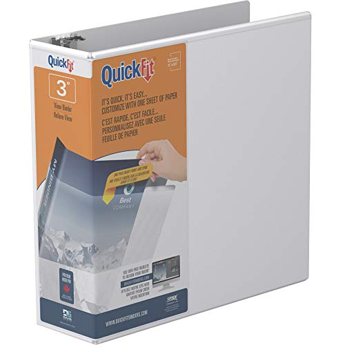 Quickfit 3,8 cm Deluxe double-hinged D-Ring Binder 3-Inch D-Ring weiß