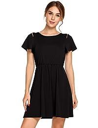 ACEVOG Damen Sommerkleid A Linie Mini Kleid Casual Rundhals Kurzarm  Freizeitkleid mit Schulter-Cut- d8aba5d1a3