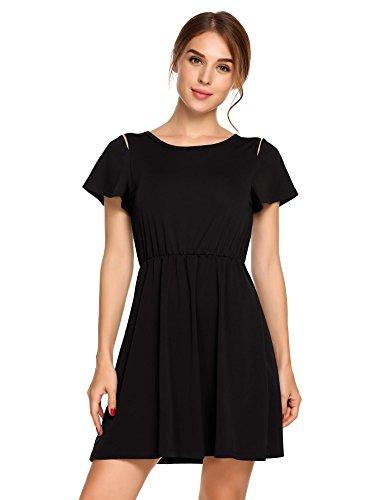 ACEVOG Damen Sommerkleid A Linie Mini Kleid Casual Rundhals Kurzarm Freizeitkleid mit Schulter-Cut-Outs - Kleider, Cut-outs