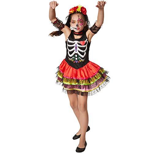 dressforfun 900413 - Mädchenkostüm gruselige Mexikanerin, Ärmelloses Kurzkleid mit dreilagigem Rock (128   Nr. 301991)