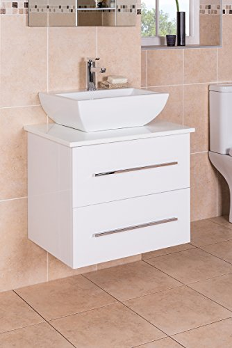 NEW 600mm Wall Hung Vanity Basin Sink Unit 2 Drawer countertop Basin