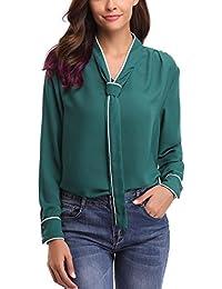 Abollia Camisa para Mujer, Blusa Elegante, Camiseta e T Shirt Casual con Manga Larga, Pullover con Cut-Out