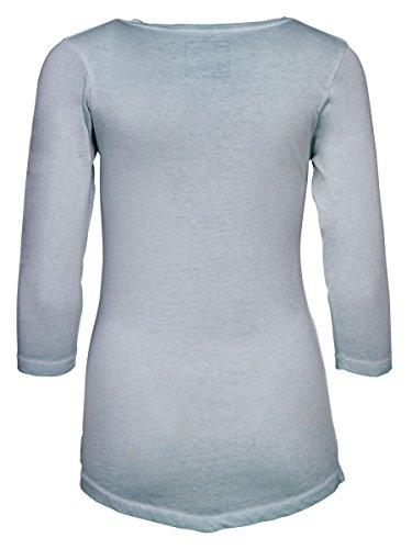 DAILY'S ADANA cold pigment dyed Damen 3/4 Arm Shirt mit Rundhalsausschnitt aus 100% Bio-Baumwolle- soziale fair trade Kleidung, Mode vegan und nachhaltig Color glacier-blue, Size S - 2