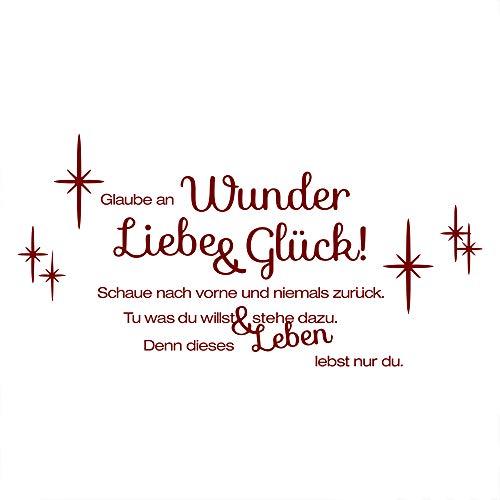 decalmile Rot Glaube an Wunder Liebe Glück Wandtattoo Sprüche und Zitate Herausnehmbar Vinyl Wandaufkleber Wandbilder für Wohnzimmer Schlafzimmer