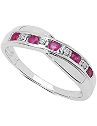 The Diamond Ring Collection: 9ct White Gold Pink Topaz & Diamond Channel Set Crossover Eternity Ring, Mother's Day, Anniversary Gift Ring Size H,I,J,K,L,M,N,O,P,Q,R,S,T,U,V,W
