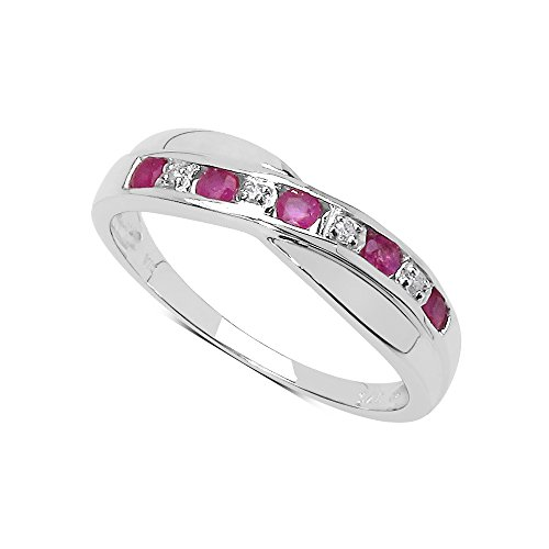 Sammlung Ring Ruby: Ruby & Diamant eternity ring Set Channel Cross in Sterling Silber, Ringgröße 59 (18.8) (Band Diamant Wedding Eternity)