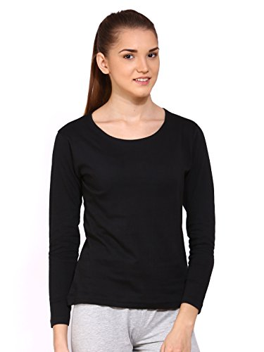 Ap'pulse Women's Long Sleeve Round Neck T Shirt (AP-WM-RN-LONGSLV-236-BLACK-XL)  available at amazon for Rs.295
