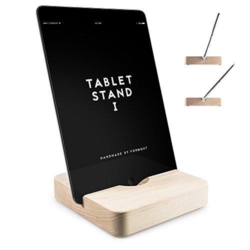 FORMGUT Holz iPad Ständer mit 2 Neigungen Handmade Stand-halterung, Standfuss - Bodenhalter, Massivholz Halterung, Tablet Stand 1 - Ahorn (Kirsche Massivholz Tisch)
