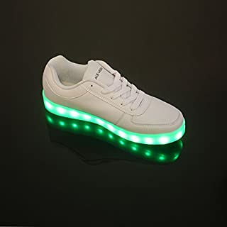 ACEVER 12-Light USB Charging Men's Sports Shoes Light Up Sneakers Flashing Shoes LED Light Shoes Prom Rave Birthday Halloween Christmas Valentine's Day Camping Hiking Trekking Biking Gift (EU42/UK8.5/CHN44)