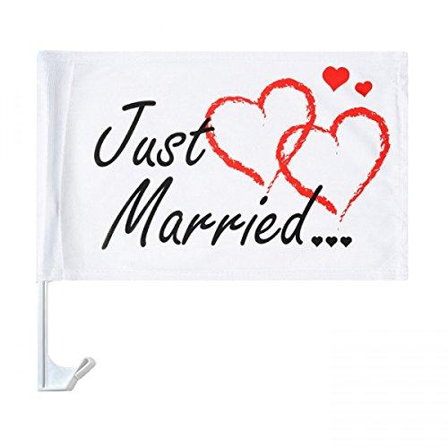 10 x Autoflagge Autofahne Just Married Auto Flagge Fahne Hochzeit