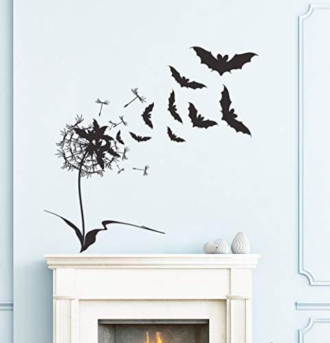 fenshop Entwickelt Flying Bats Mit Blumen Wandtattoos Für Halloween Home Special Decor Happy Halloween Wandaufkleber Poster 71x71