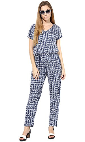 The Gud Look Women's Blue Diamond Print Jumpsuit
