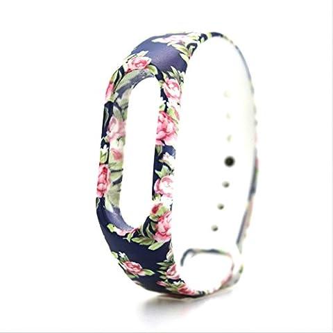 Ollivan colorato silicone cinturino da polso della cinghia del polso Sostituire la cinghia di ricambio Wristband Accessori braccialetto per Xiaomi Mi Band 2 smart Miband (fiore)