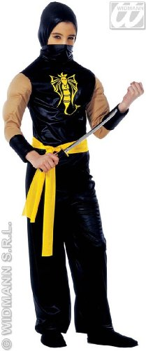 �Kostüm für Kinder Power Ninja (140cm/8–10Jahre), Schwarz, XS (Kostüm Für 12 Jährigen Jungen)