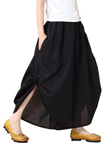 Vogstyle Damen Loose Fit Unregelmäßig Breite Bein Stoffhosen mit Seitentaschen Art 1 M schwarz