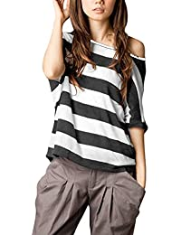 Allegra K Women's Asymmetric Neckline Dolman Sleeve Stripe Top T Shirts