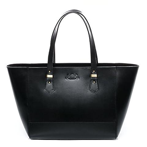 SID & VAIN large tote bag & shoulder bag - handbag TRISH stable character - women`s bag black leather