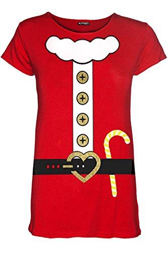 Be Jealous Frauen Weihnachten Flügelärmeln Santa Vater Glitzer -