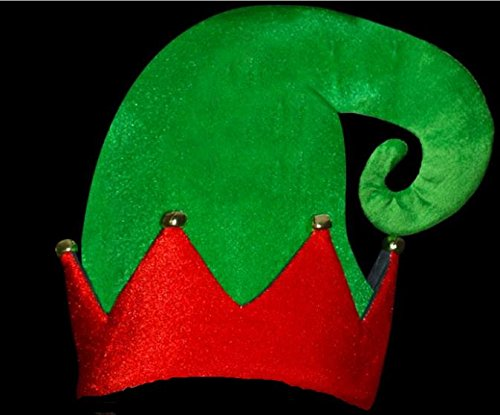 VELOURS Weihnachtself Hat mit Glocken rot und grün -