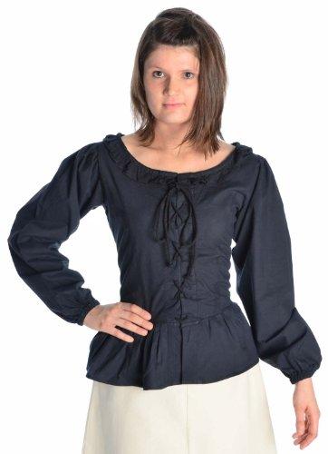 HEMAD Damen Bluse mit Rüschen zum Schnüren Langarm Baumwolle - Mittelalter - Piraten schwarz M (Damen Piraten Hose)