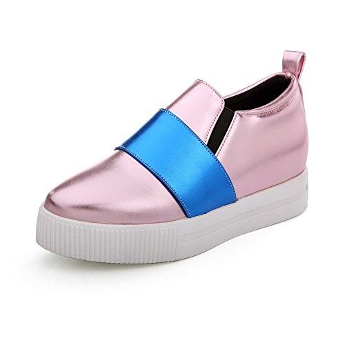 VogueZone009 Damen Gemischte Farbe Pu Leder Mittler Absatz Rund Zehe Ziehen  Auf Pumps Schuhe Pink