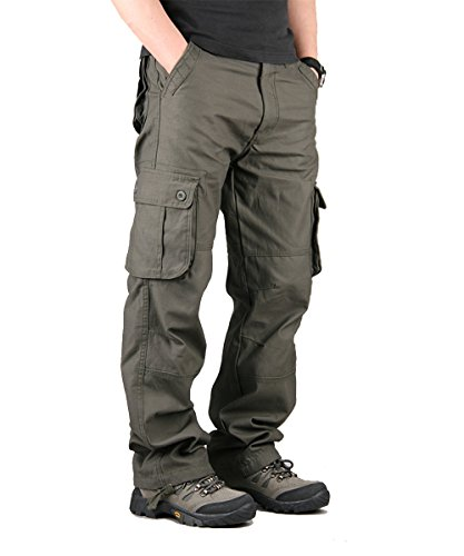 TAIPOVE Uomo Pantaloni Cargo Pantaloni Tattici Militari Uomo Pantaloni da Lavoro Uomo per Uso Stagioni Casual Sport Viaggio di Cotone Verde Militare