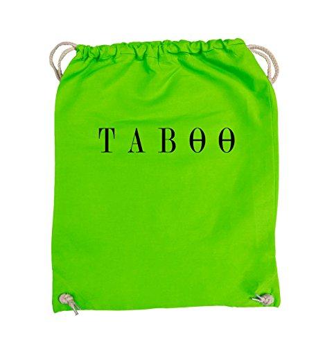 Comedy Bags - TABOO - LOGO - Turnbeutel - 37x46cm - Farbe: Schwarz / Pink Hellgrün / Schwarz
