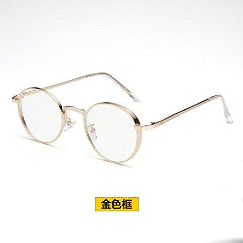 BM super persönlichkeit Retro - runde Brille Rahmen bei Flut koreanischen super leichte gläser Frame weibliche Full Metal Frame - Spiegel,goldenen Rahmen