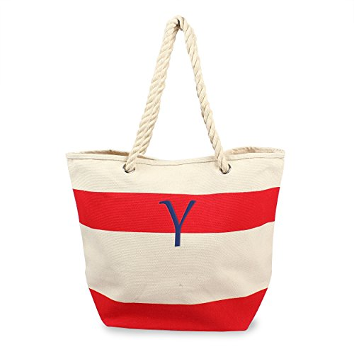 Seil Griff Tote (Cathy 's Concepts Personalisierte gestreift Navy Canvas Tote mit Seil Griffe Y rot)