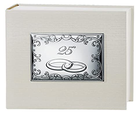 Fotoalbum Leinwand Creme 25Jahrestag Hochzeit Silberhochzeit cm 25x 20Platte rechteckig Zentrale Thema Barock Bi laminiert Silber gefertigt, Made in (Leinwand Porte)