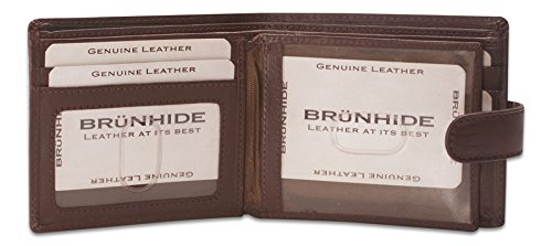 Brunhide - Faltbare Brieftasche mit Druckknopf für Herren - Echtes weiches Leder - # 232-300 Braun