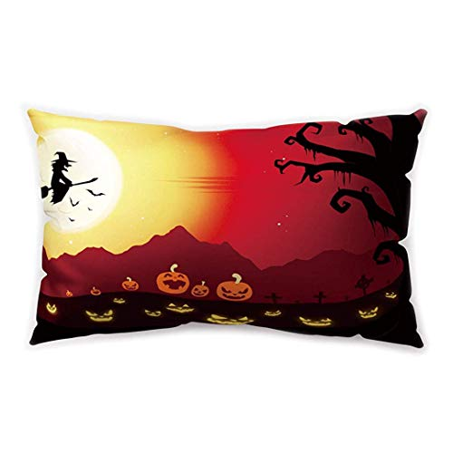 Blakww Halloween Party Rectangle Cushion Cover Cartoon Bat Witch Castle Moonlight Printing Double-Sided Soft Plush Pillowcase 30 x 20 inhces (Club Nyc Halloween)