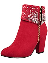 Logobeing Zapatos Mujer Tacones Botines Mujer Tacon Medio Planos Invierno Alto Botas de Mujer Casual Plataforma