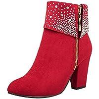 Logobeing Zapatos Mujer Tacones Botines Mujer Tacon Medio Planos Invierno Alto Botas de Mujer Casual Plataforma Nieve Ante Botas de Cordones Calientes Martin Boots